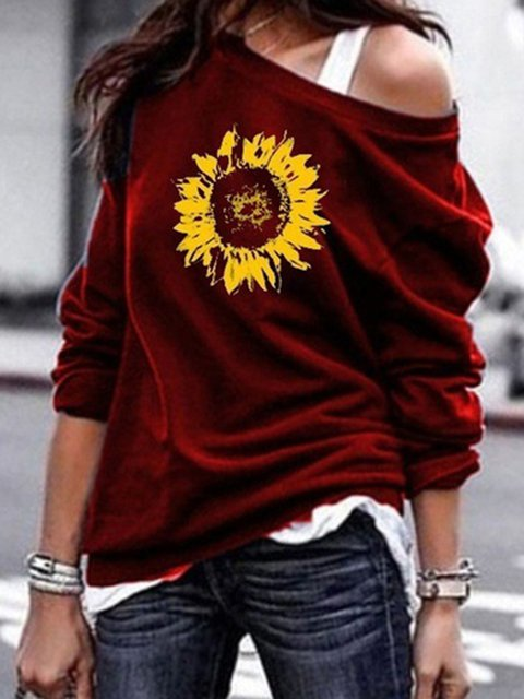 Floral Print Batwing Long Sleeves Casual T-shirts
