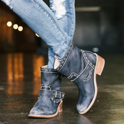 Womens Boots Slip On Vintage Round Toe Ankle Booties