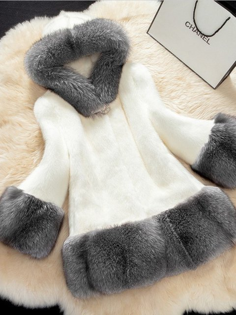 Plus Size Faux Fur Hoodie Elegant Outerwear