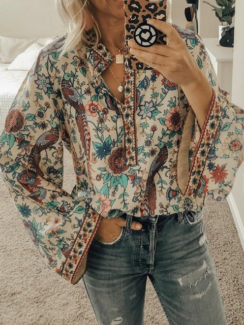 White Long Sleeve Floral Cotton-Blend Floral-Print Shirts