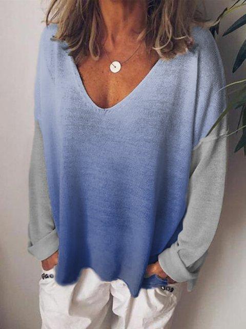 Blue V Neck Shift Cotton-Blend Long Sleeve Shirts & Tops