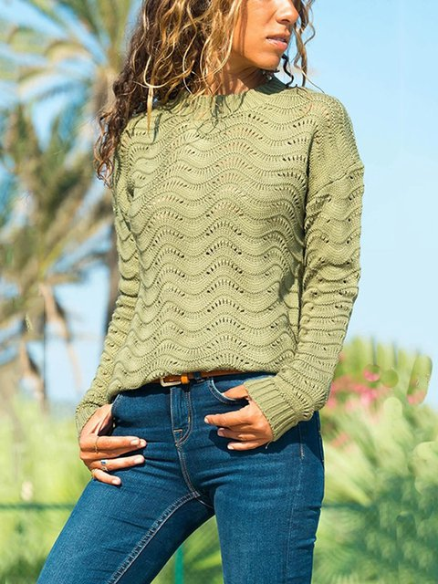 Cotton Long Sleeve Knitted Holiday Sweater