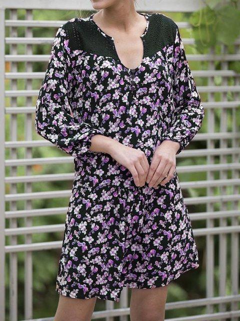 V Neck Women Spring Caftans Shift Daily Floral Dresses