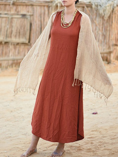Cotton loose sleeveless Shift dress