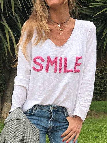 Long Sleeve Cotton-Blend V Neck T-Shirts