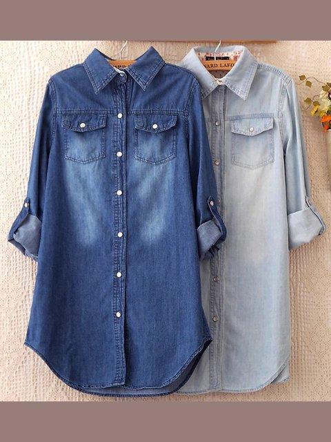 Casual Long Sleeve Shirt Collar Shirts & Tops