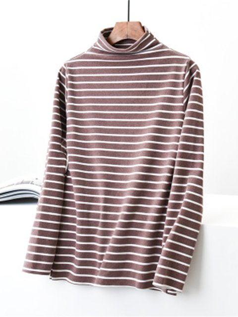 Striped Long Sleeves Turtleneck Casual Warm Tops & Pants