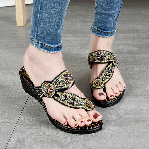 Women Casual Slide Sequin Spring/fall Wedge Heel Pu Slippers