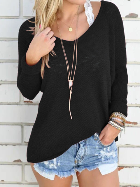 Casual Knitted Long Sleeve Plus Size Shirts & Tops