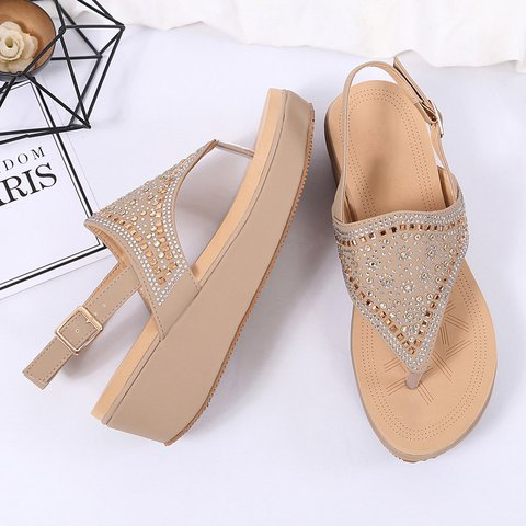 Chic Boho Flip Flop Wedge Wide Fit Thong Sandals