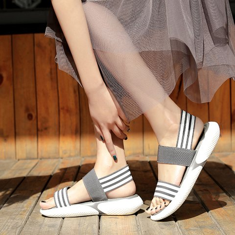 Chic Athletic Wide Fit Elastic Band Peep Toe Sandals