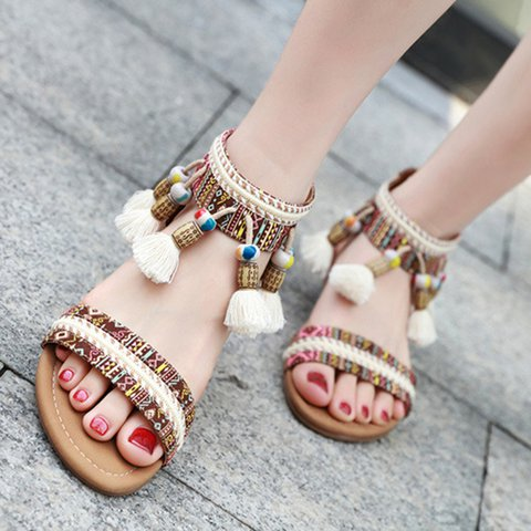 Chic Boho Peep Toe Back Zip Flat Sandals