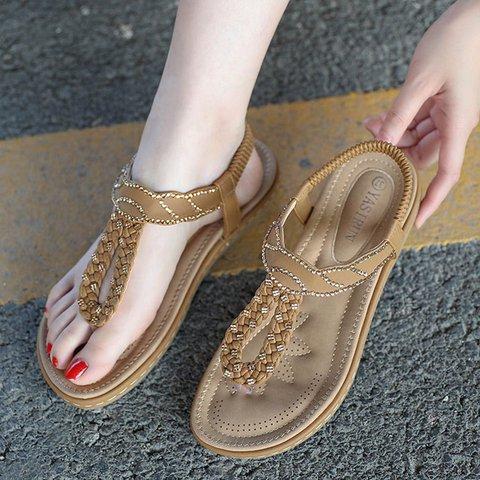 Chic Boho Flip Flop Wide Fit Elastic Band Thong Sandals