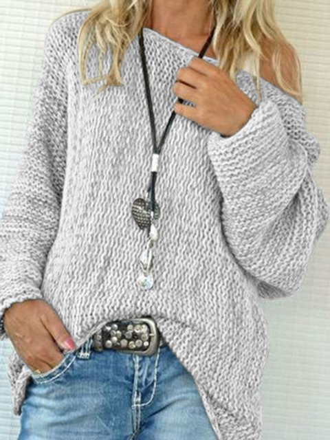 Knitted Holiday Cotton Solid Off Shoulder Sweater