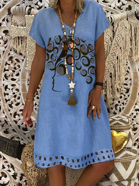 V Neck Women Dresses Shift Holiday Cotton Dresses
