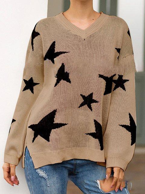 Geometric Holiday Long Sleeve Sweaters