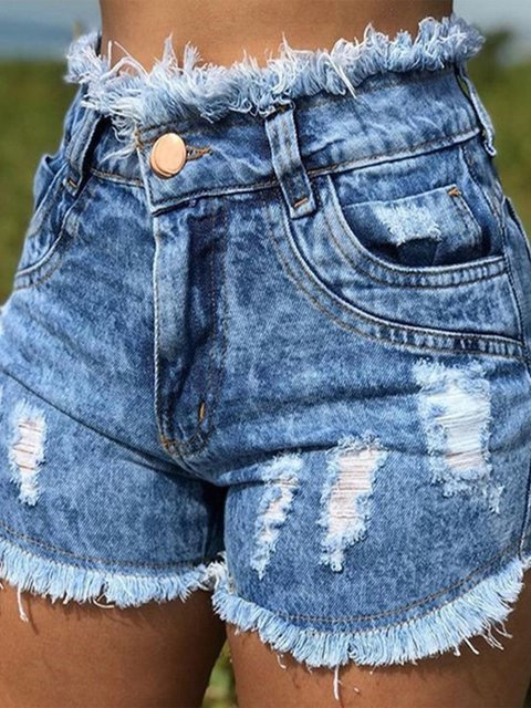Plus Size Washed Women Summer Denim Shorts Jeans