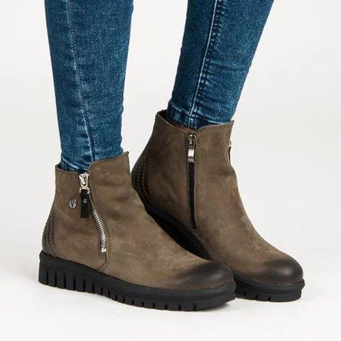 deb44a5637d92 Justfashionnow Vintage Zipper Ankle Booties Platform Buckle Boots Plus Sizes