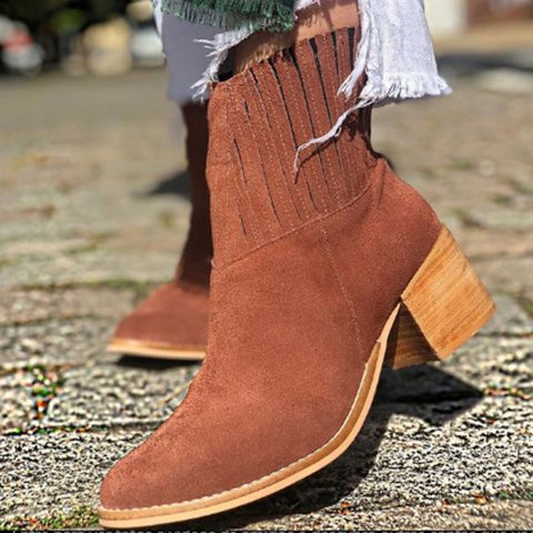 Casual Elastic Band Chunky Heel Ankle Booties