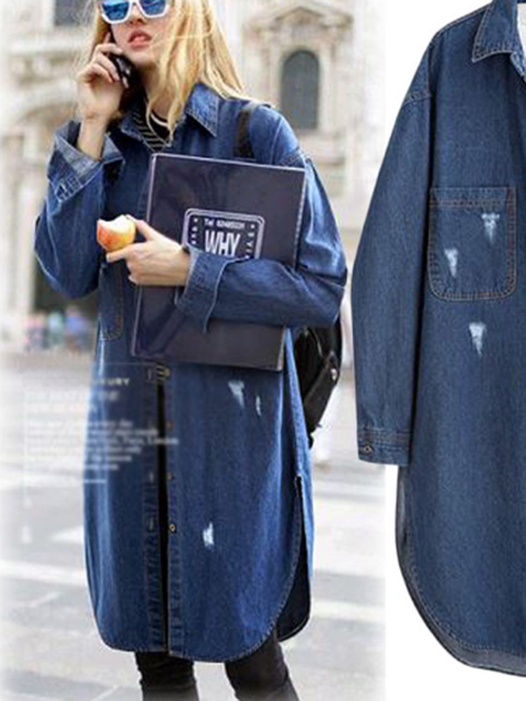 Denim Long Sleeve Casual Outerwear