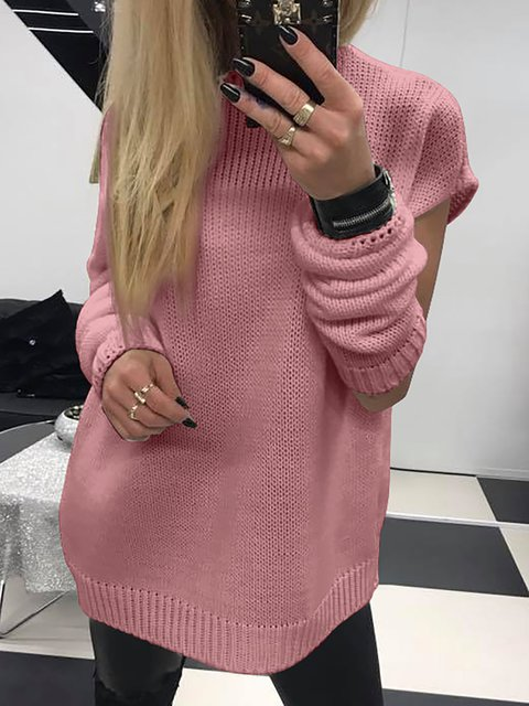 Long Sleeve Solid Round Neck Sweaters