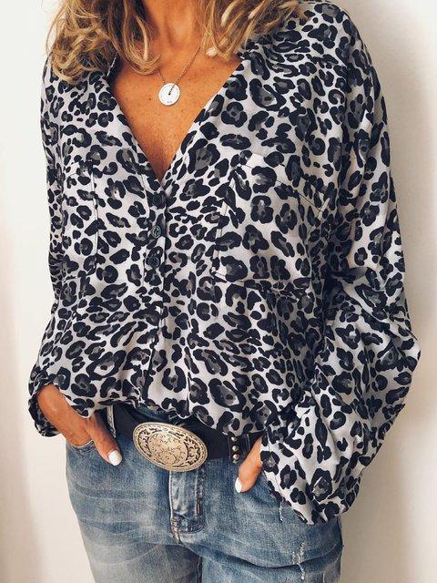 Leopard Leopard Print Long Sleeve Shirts & Tops