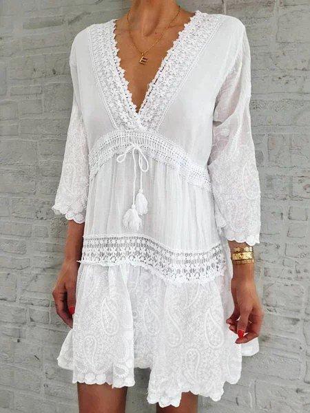Women Caftan V-Neck 3/4 Sleeves Paneled Summer Dresses