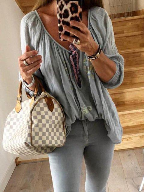 Grey Holiday Long Sleeve Shirts & Tops