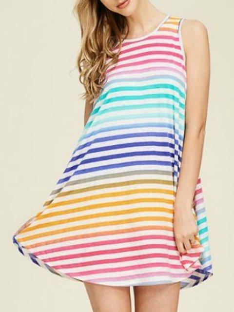 Crew Neck Women Dresses A-Line Holiday Striped Dresses
