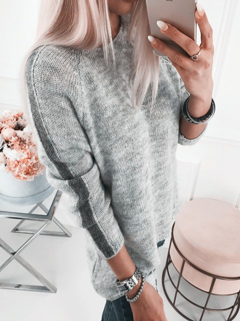 Round Neck Casual Long Sleeve Sweaters
