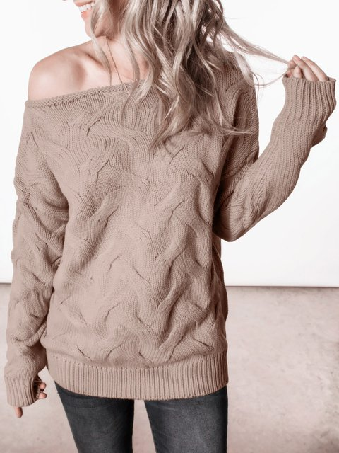 Off Shoulder Long Sleeve Solid Sweaters
