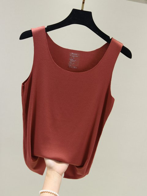 b4ffe647b2d9 Cotton-Blend Sleeveless V-Neck T-Shirts - JustFashionNow.com