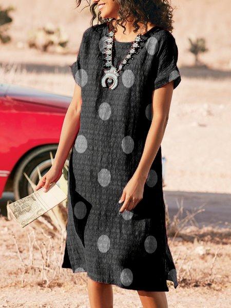 Polka Dots Short Sleeve Casual Dresses