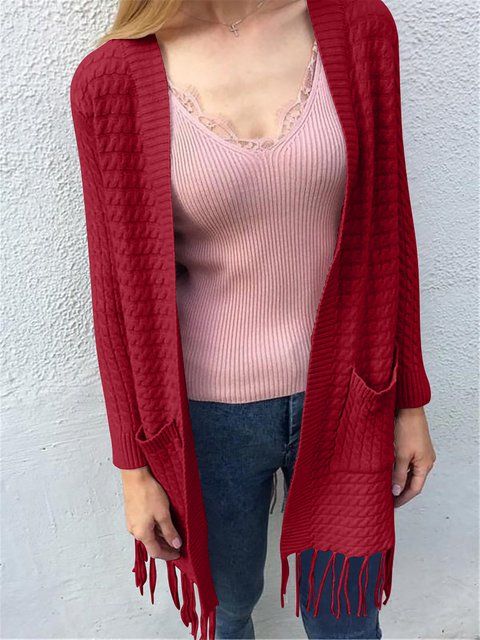 Long Sleeve Round Neck Solid Cardigans