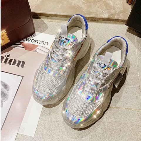 Silver Pu Lace-Up Platform Sneakers Crystal Sneakers