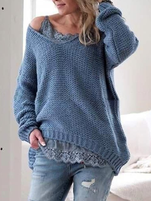 Plus Size Solid Sweater Women V Neck Long Sleeve Tops