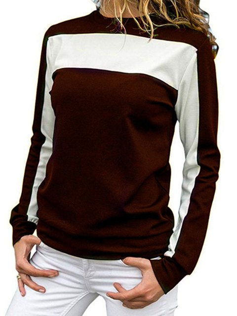 Patchwork Round Neck Long Sleeves Spring/Fall T-shirt Top
