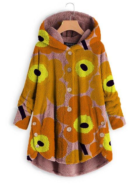 Coral Velvet Printed Long Sleeve Hoodie Winter Coats