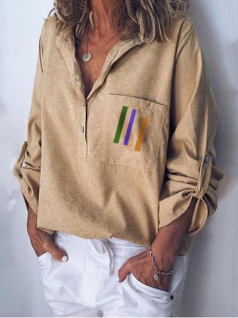 Khaki 3/4 Sleeve V Neck Shift Linen Shirts & Tops