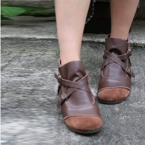 Flat Heel Round Toe Slip-On Winter Boots Comfy Boots