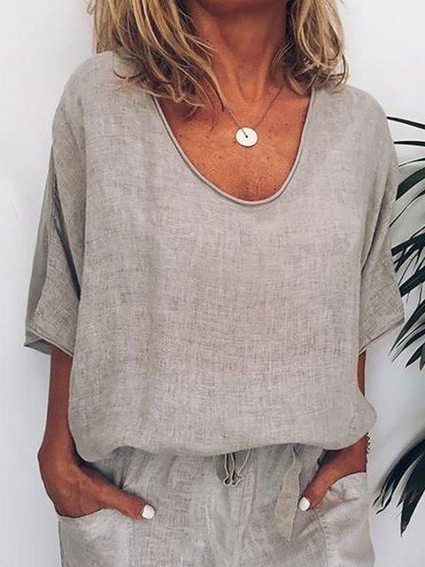 Khaki Casual Plain Shirts & Tops