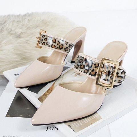 Date Pointed Toe Special Heel Slide Mule Sandals