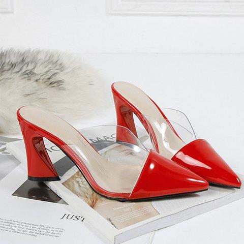Date Pvc Pointed Toe Special Heel Slide Mule Sandals