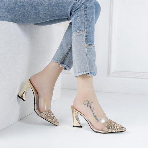 Date Glitter Pointed Toe Special Heel Slide Mule Sandals