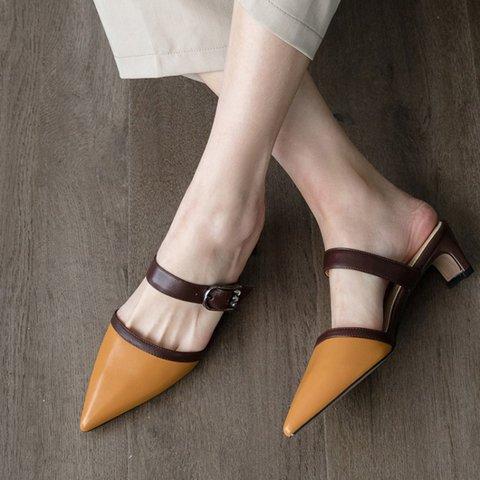Date Genuine Leather Chunky Heel Pointed Toe Slide Mule Pumps