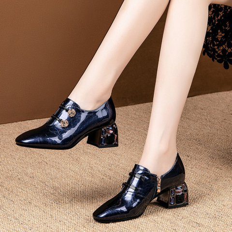 Date Genuine Leather Chunky Heel Square Toe Zip Pumps