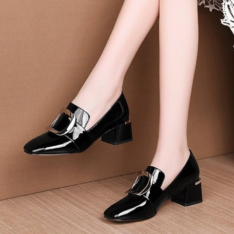 Date Genuine Leather Chunky Heel Square Toe Pumps