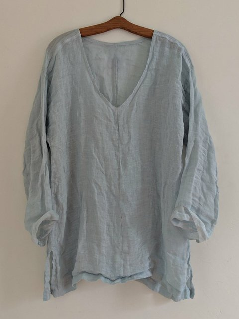 Plus Size Solid Tunic V Neck Long Sleeve Blouses