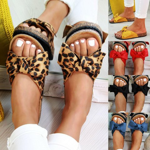 Plus Size Bowknot Suede Slide Flat Sandals