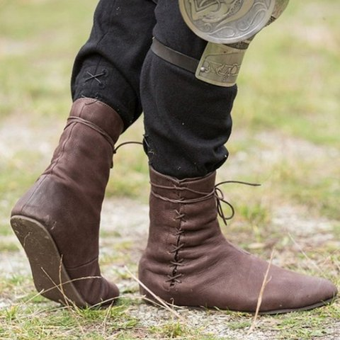 Women Round Toe Retro Casual Pu Lace-Up Flat Heel Boots